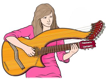 ハープギター harp guitar を演奏する女性のイラスト