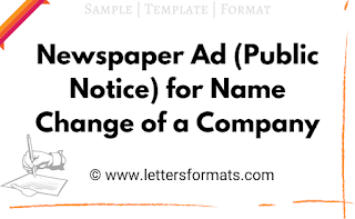 newspaper advertisement format for name change