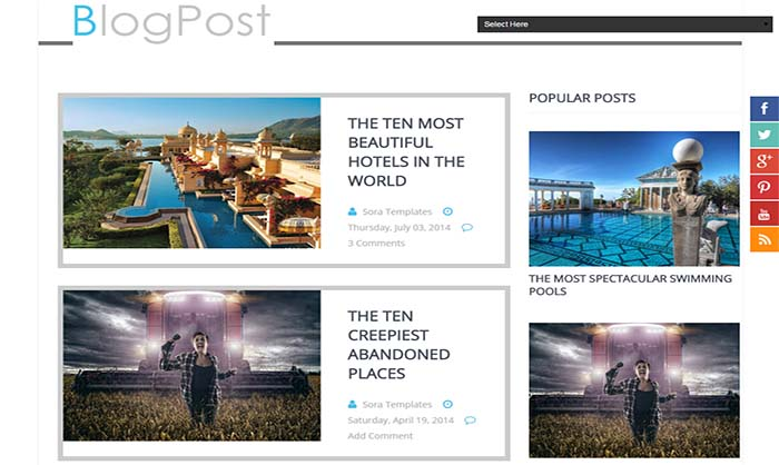 Blog post Blogger template