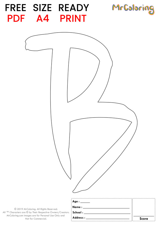 Alphabet letter B coloring pages Uppercase or Capital Brush for kids