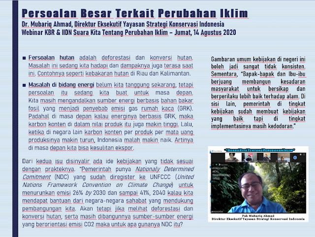 Persoalan Besar Terkait Perubahan Iklim, Dr. Mubariq Ahmad, Direktur Eksekutif Yayasan Strategi Konservasi Indonesia  - Webinar KBR & IIDN Suara Kita Tentang Perubahan Iklim – Jumat, 14 Agustus 2020 | © JelajahSuwanto