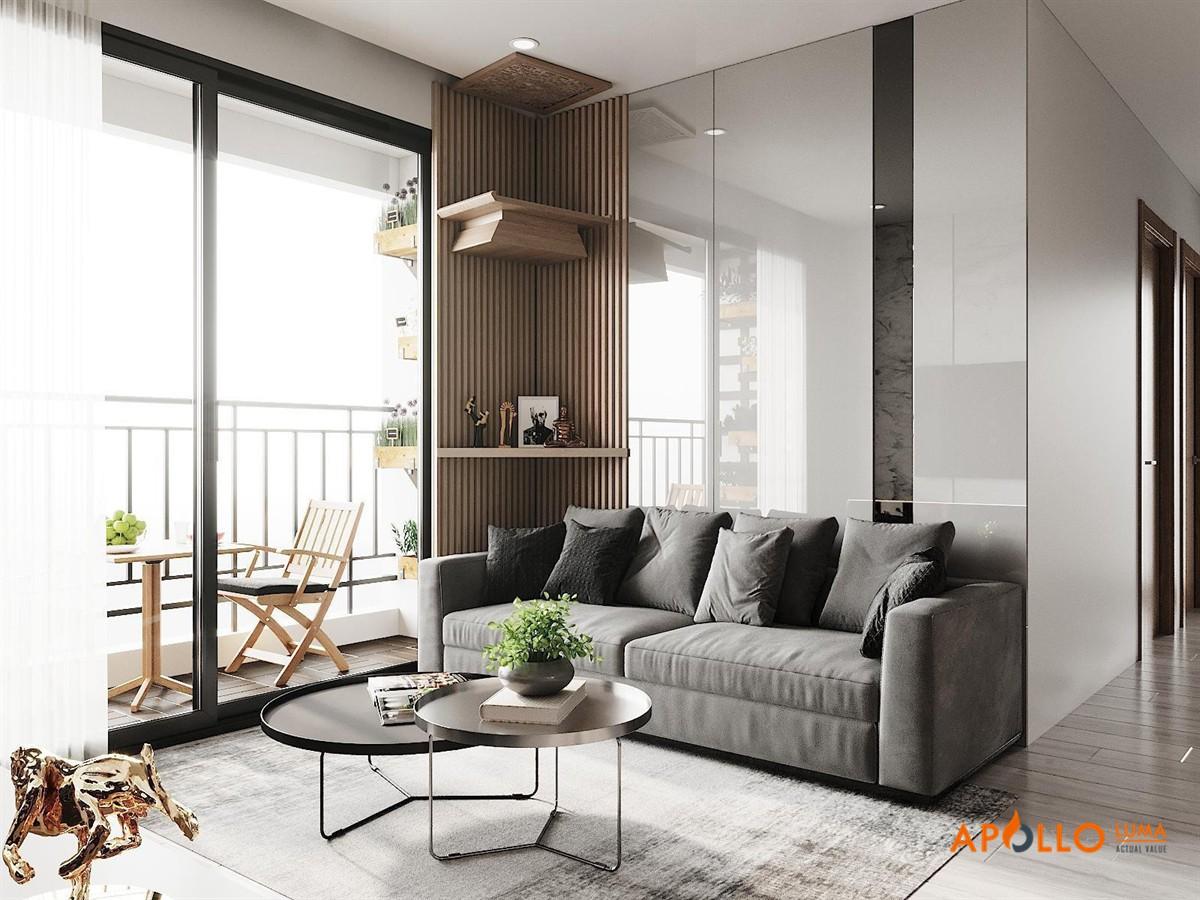 Thiết kế phòng khách mẫu 2: Phong cách hiện đại sang trọng với tông màu ghi trắng