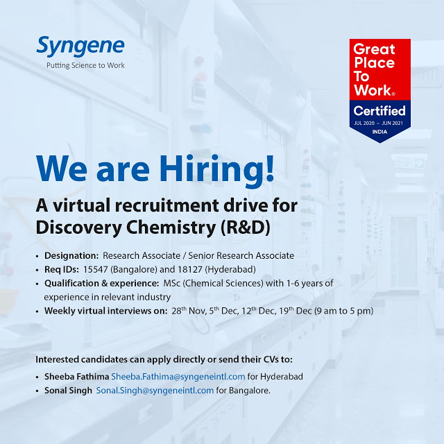 Syngene International | Weekly Virtual Interviews for Multiple Positions on 28th Nov& 5, 12 & 19th Dec 2020