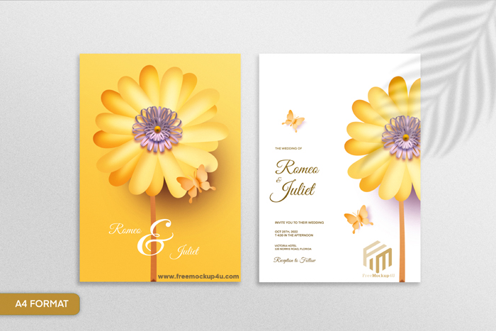 Double Sided Paper Style Floral Wedding Invitation With Sunflower