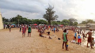 Sao Tome residents meet at the Forte de São Sebastião
