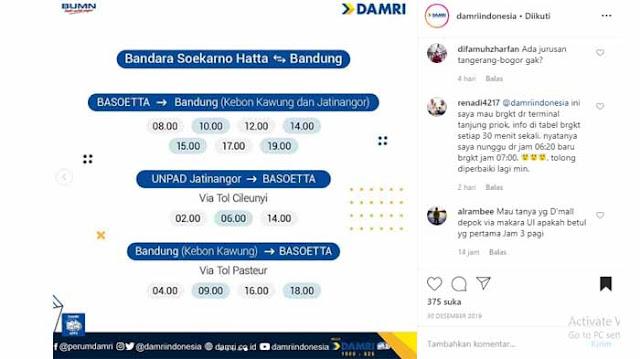 Jadwal Damri Bandara Soekarno Hatta ke Bandung 2020