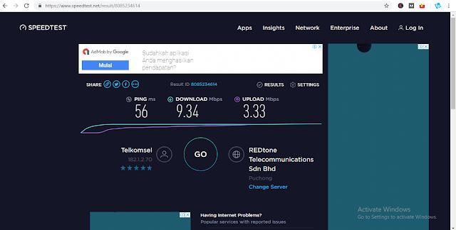 Hasil speedtest.net - Cara Mengecek Kecepatan Internet di PC