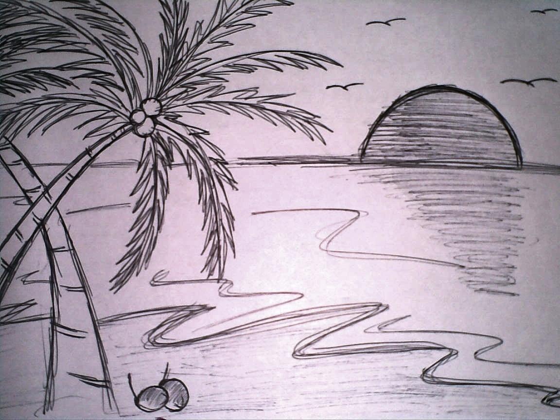 Gambar Ilustrasi Pantai Yang Mudah Iluszi