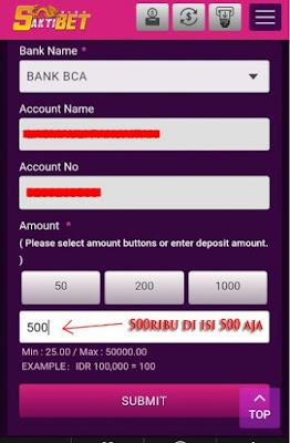 STEP 4 : Setelah itu akan muncul nama dan nomor rekening tujuan nya. Pergi ke ATM untuk mengirim dana nya atau bisa juga pakai Internet banking dan sms banking. Jika sudah isi di kolom nominal nya contoh anda mengirim 500ribu maka isi di kolom 500 saja