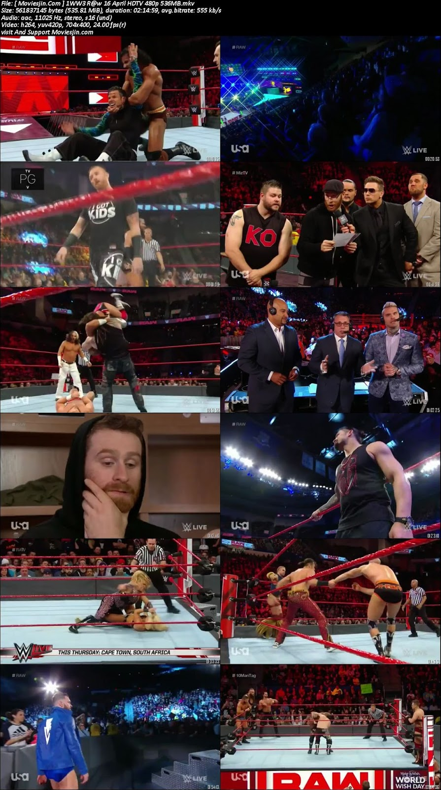 Watch online WWE Monday Night Raw 16th April 2018 530MB TVRip 480p downloadhub