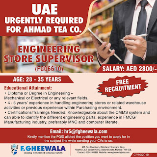 Engineering Store Supervisor for UAE