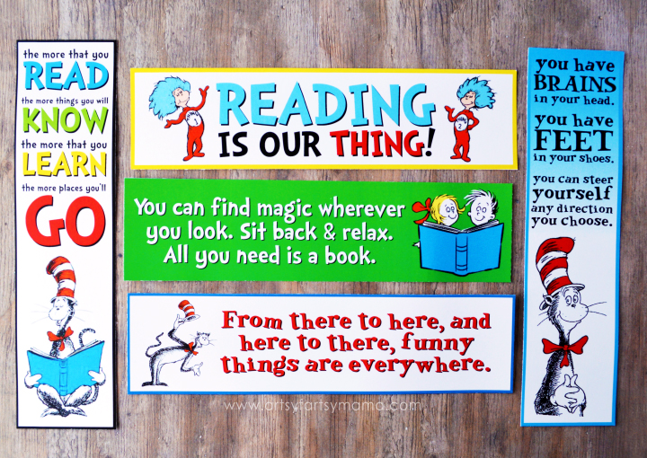 Free Printable Dr. Seuss Bookmarks at artsyfartsymama.com