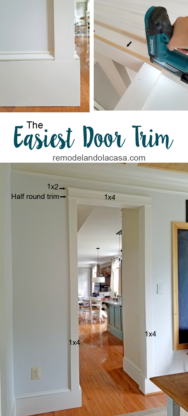 work the trim around doorways with Makita pin nailer and Dremel Oscillating tool