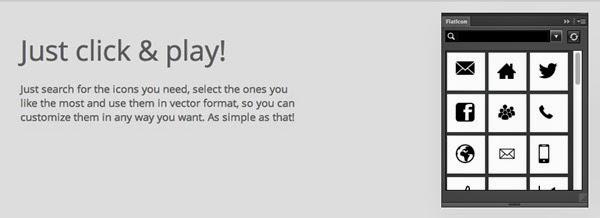 Flaticon memberi Anda akses cepat ke lebih dari 25.000 vektor ikon yang tepat dari dalam Photoshop. Sebuah bar pencarian disertakan, yang membuatnya sangat mudah untuk menemukan hanya ikon yang Anda cari.