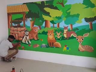 PLAY SCHOOL CLASSROOM WALL PAINTING THANA / GHATKOPER / MULUND/ NEW MUMBAI