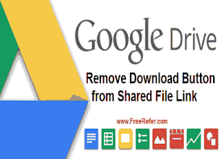 disable download button from google drive shared file link