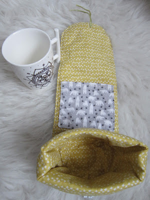 porta tazas, mug bag, costura, couture, sewing, tasse