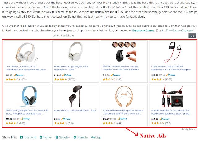 amazon associates native ads