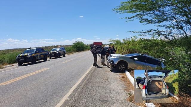 PRF e PM apreendem na Paraíba mais de 7kg de artefatos explosivos, grande quantidade de dinamite e munição de grosso calibre em veículo roubado