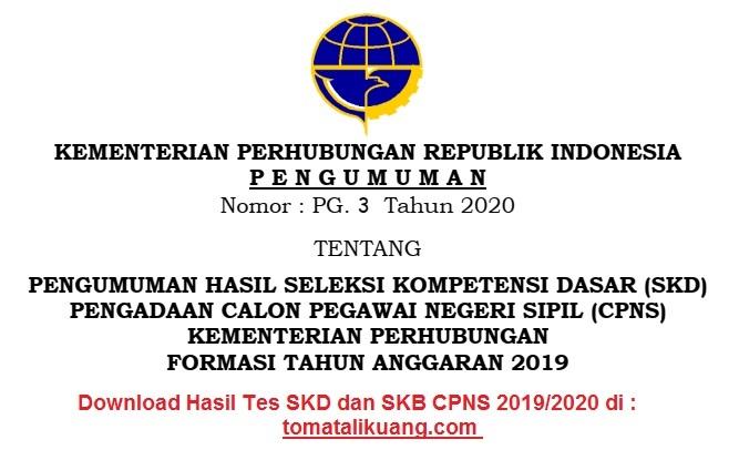 cpns.dephub.go.id: Download Hasil SKD CPNS Kemenhub 2020 ...