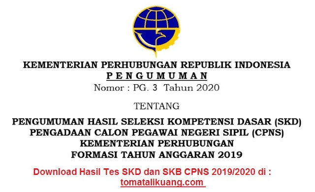 hasil skd cpns kemehub 2020; hasl tes skd cpns tahun 2019; kementerian perhubungan; tomatalikuang.com