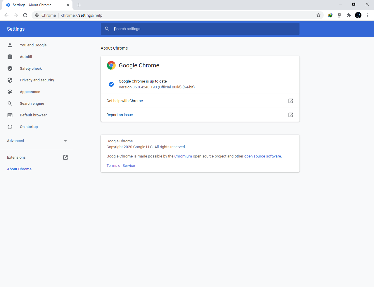 Google Chrome Browser 86.0.4240.193