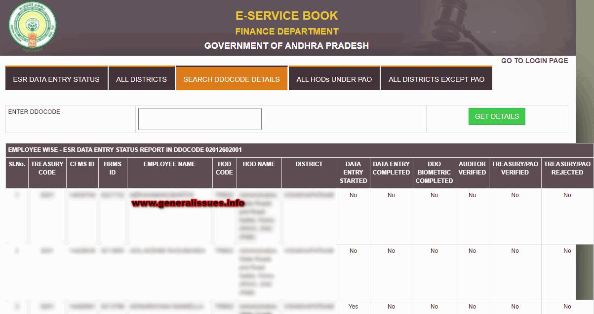 esr data entry status report