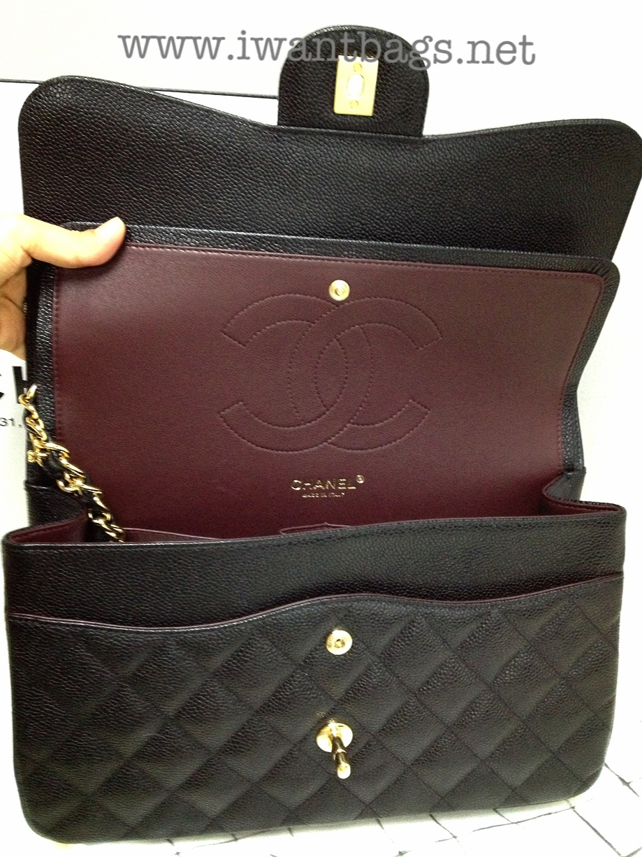 Chanel Large Grocery Shopping Basket W Tags: The Absolute Must Have! Chanel Classic Jumbo Flap In Caviar