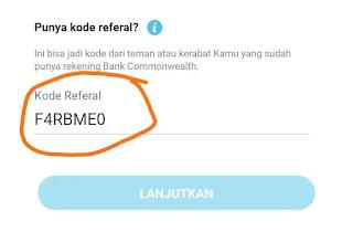 """berikut ini adalah kode referral CommBank Mobile Terbaru :   """" F4RBME0 """" Gunakan kode diatas disaat mendaftar di aplikasi CommBank Mobile"""