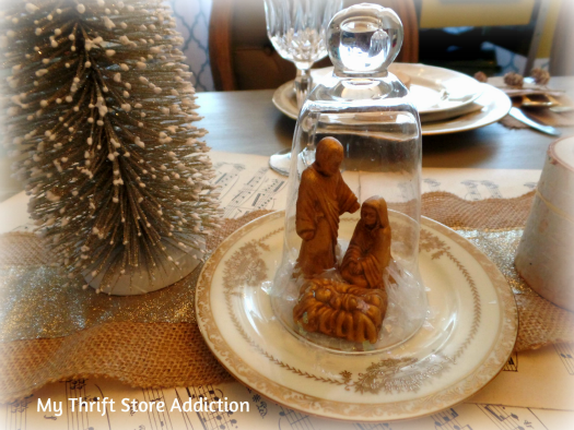 All That Glitters: Rustic Glam Birch Slices and Tablescape mythriftstoreaddiction.blogspot.com Bottle brush tree and cloched thrift store nativity
