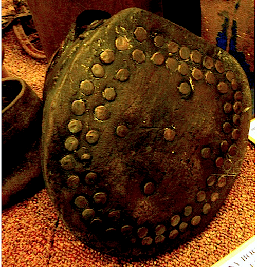 brass studs in a pity pony's leather hoof boot at Keswick Museum