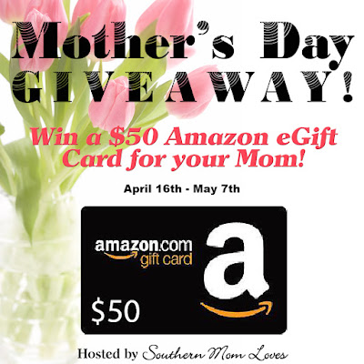 Enter the $50 Amazon Mother's Day Giveaway. Ends 5/7