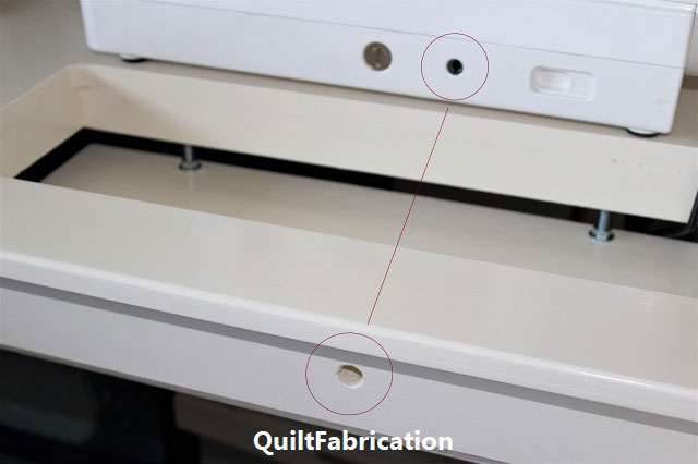 DIY Ikea sewing table with knee lift hole