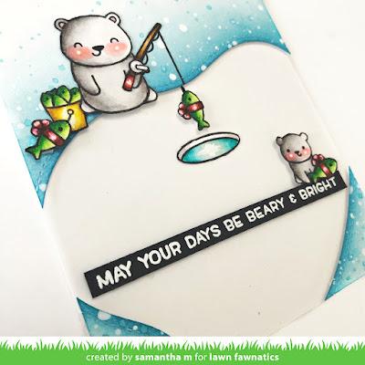 Beary and Bright Days Card by Samantha Mann, Lawn Fawn, Lawn Fawnatics, Christmas, Polar Bears, Christmas Cards, Distress Inks, Ink Blending #lawnfawn #lawnfawnatics #distressinks #christmas #christmascard #polarbeara
