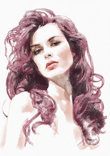 Ermal Fejzullahu single cover portrait of woman, Ink and watercolor portrait