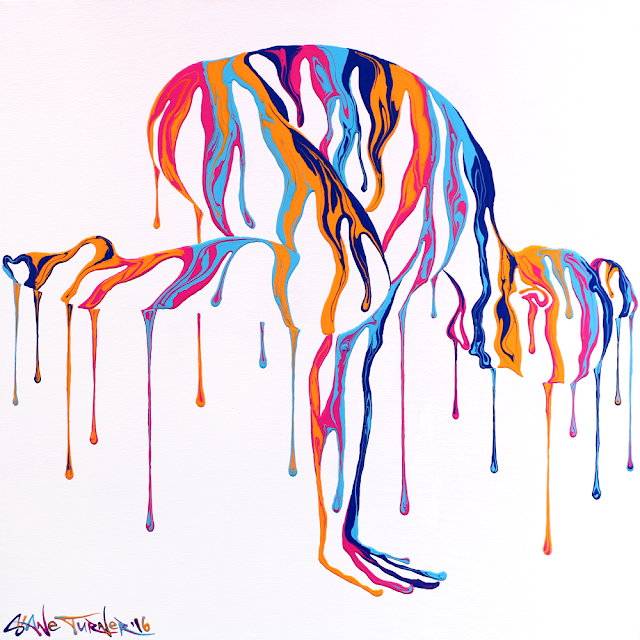 Picture of Psychameleon Transcendence 4.0 painting by Canadian artist Shane Turner. Surreal painting is of a woman performing the crow yoga pose made out of dripping colorful paint.