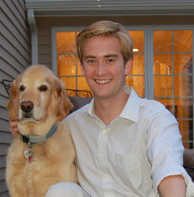 Peter Doocy with his dog outside his house