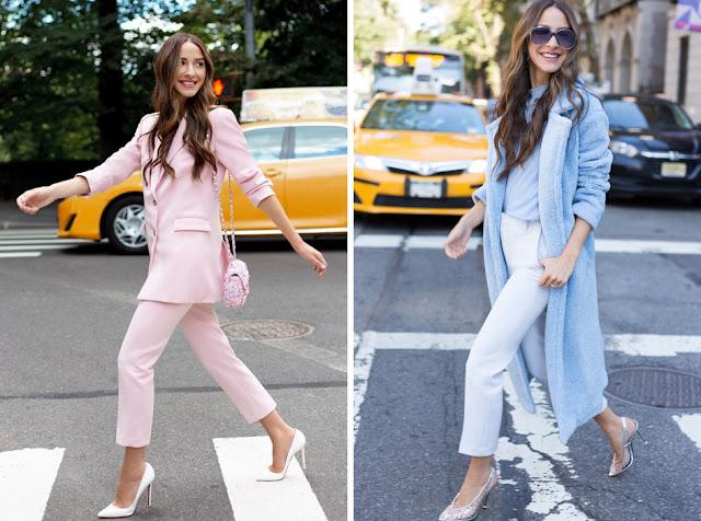 Розовый и голубой брючные костюмы для женщин