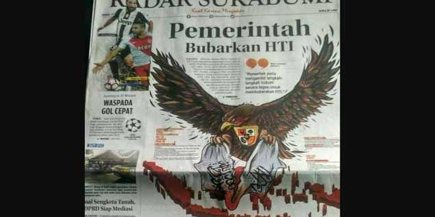 Tampilkan Ilustrasi Burung Garuda Merobek Bendera Tauhid, Radar Sukabumi Lecehkan Umat Islam