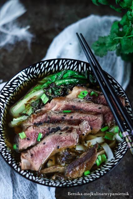 zupa, pho, phở bò, obiad, wolowina, stek, antrykot, azjattycka, bernika, makaron, kulinarny pamietnik