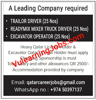 A Leading Company Jobs 2020 In Qatar For Trailor Driver, Ready Mixer Truck Driver, Excavator Operator Latest