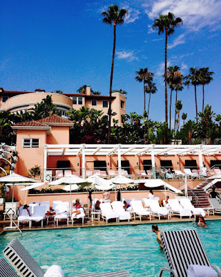 bevery hills hotel pool summer palm trees sunshine romance