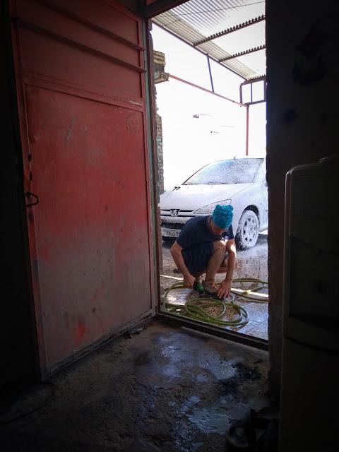 Washing the car in Shushtar, Iran
