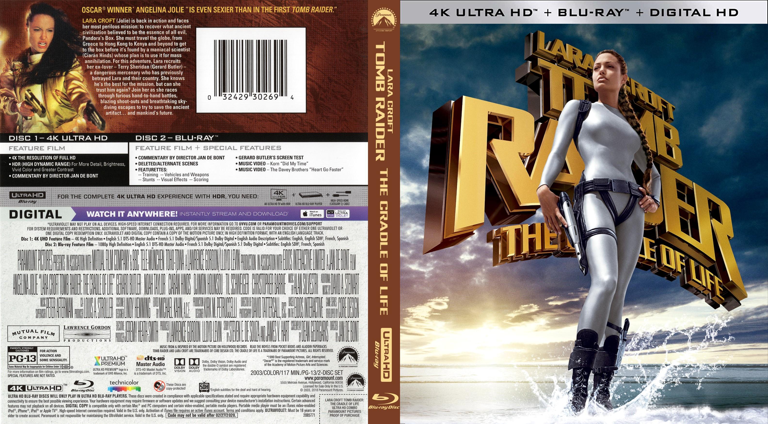 Lara Croft Tomb Raider Cradle Of Life 4k Bluray Cover Cover