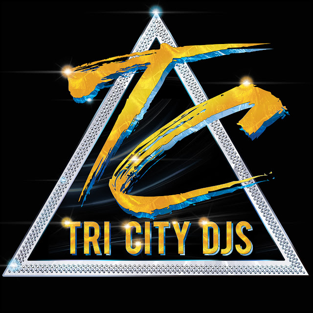Tri City DJs Silver and Gold Logo Design on Triangular Technics 1200 Turntable Platter