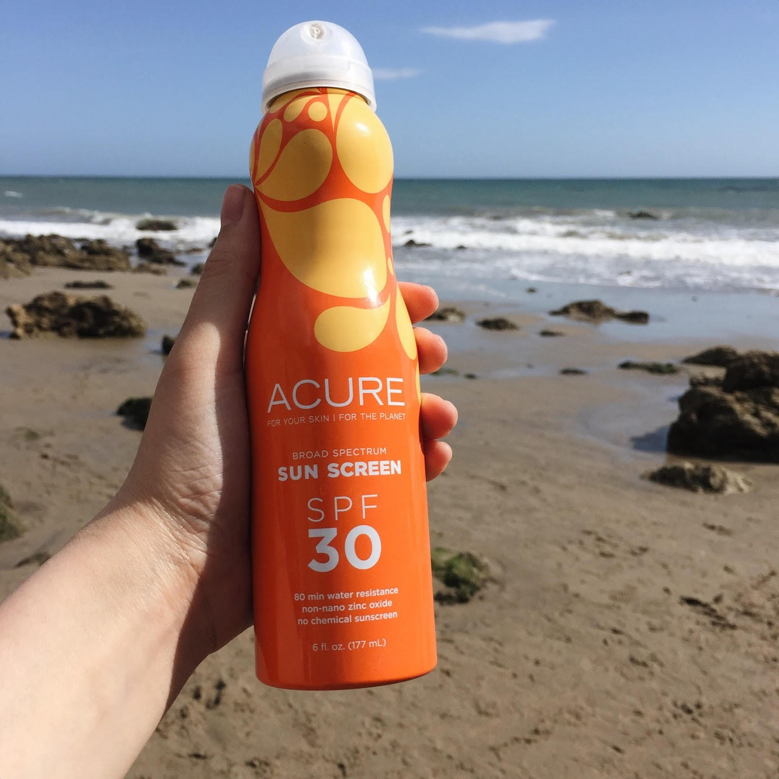 Acure Broad Spectrum SPF 30 Continuous Spray Sunscreen Review natural skincare brand hellolindasau