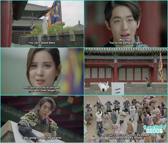woo hee ask baek ah not to come any closer then she jumped - Moon Lovers Scarlet Heart Ryeo - Episode 19