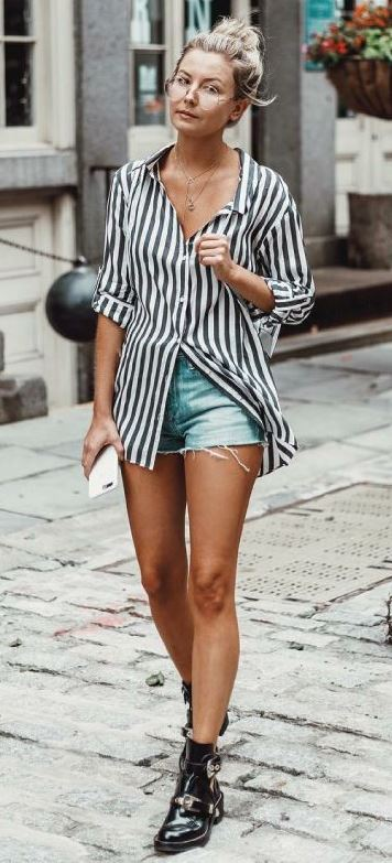 how to wear a striped shirt : denim shorts and black boots