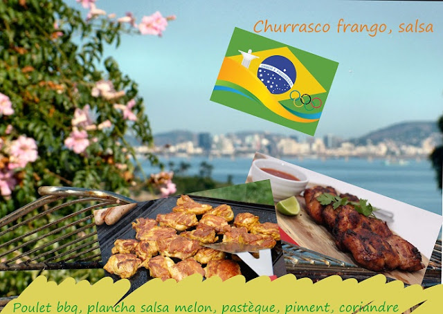 bbq frango churrasco, poulet, sauce piment melon pastèque, sans gluten