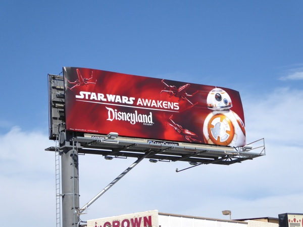 Star Wars Awakens Disneyland BB8 billboard